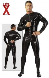 Herre Latex Heldragt i sort Large