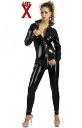 Latex Catsuit i sort til Hende Large