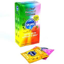 Skins Forskellige Kondomer med Smag 12 stk